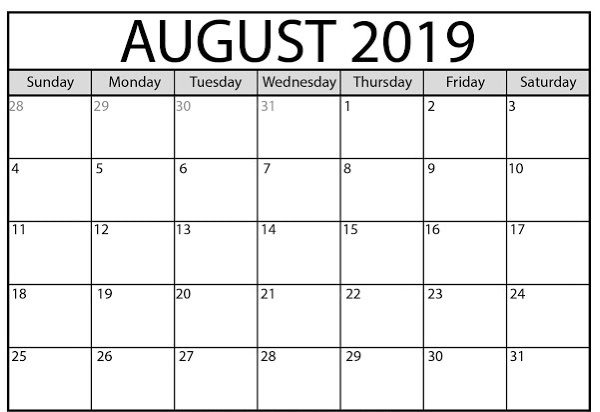 what to do in august 2019