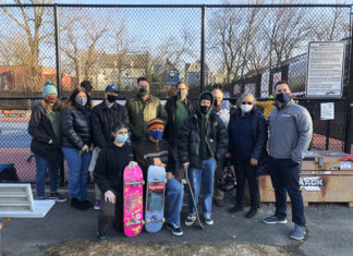 Alexis Sablone and members of Skate Essex and Montclair Skate Club at the Montclair Skatepark