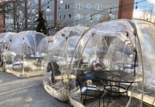 Igloo dining at Bloomfield Steak and Seafood House